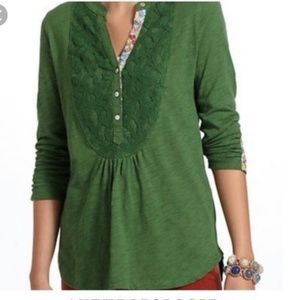 Anthro Meadow Rue Green Lace Henley